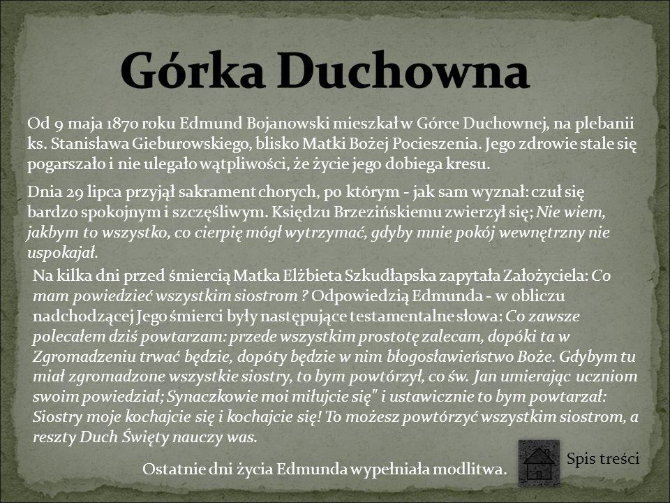 Od 9 maja 1870 roku Edmund Bojanowski mieszkał w Górce Duchownej, na plebanii ks. Stanisława Gieburowskiego, blisko Matki Bożej Pocieszenia. Jego zdro