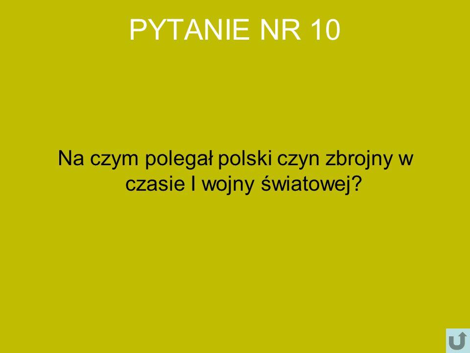 PYTANIE NR 10 Na czym polegał polski czyn zbrojny w czasie I wojny światowej?