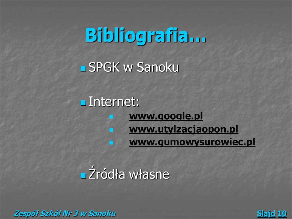 Bibliografia… SPGK w Sanoku SPGK w Sanoku Internet: Internet: www.google.pl www.utylzacjaopon.pl www.gumowysurowiec.pl Źródła własne Źródła własne Zes