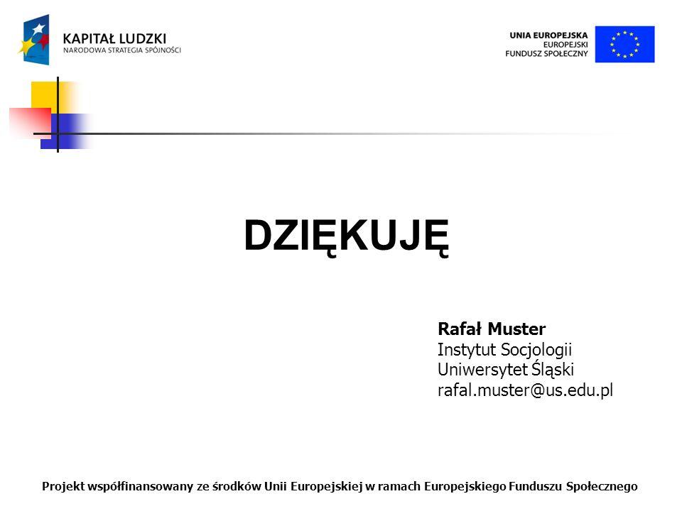 DZIĘKUJĘ Rafał Muster Instytut Socjologii Uniwersytet Śląski rafal.muster@us.edu.pl Projekt współfinansowany ze środków Unii Europejskiej w ramach Eur