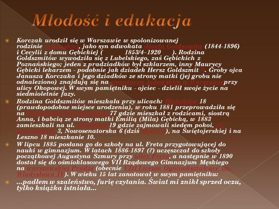Korczak urodził się w Warszawie w spolonizowanej rodzinie żydowskiej, jako syn adwokata Józefa Goldszmita (1844-1896) i Cecylii z domu Gębickiej ( 185