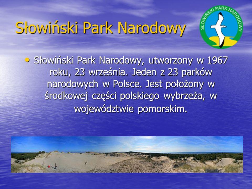 Słowiński Park Narodowy Słowiński Park Narodowy, utworzony w 1967 roku, 23 września. Jeden z 23 parków narodowych w Polsce. Jest położony w środkowej