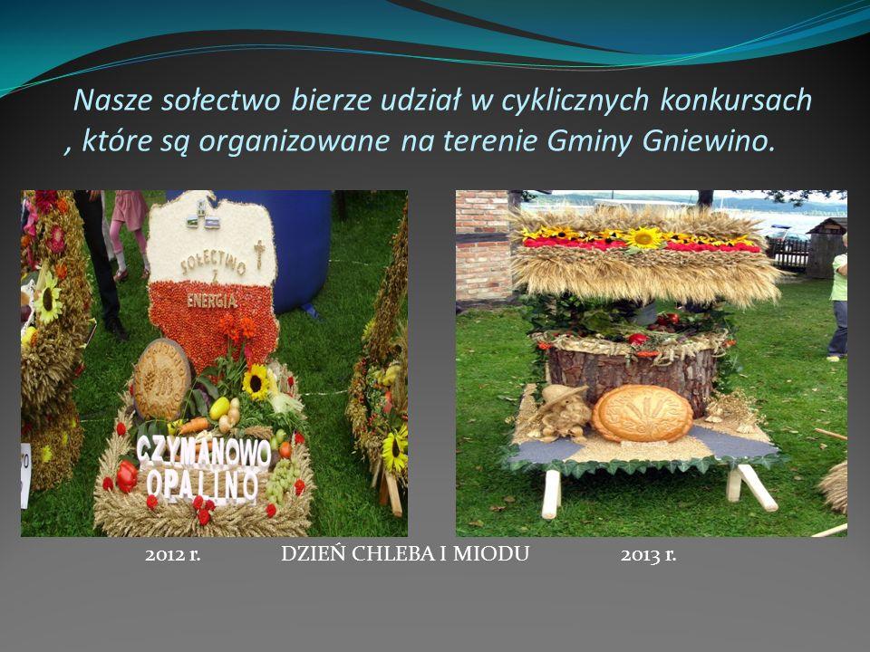 Nasze sołectwo bierze udział w cyklicznych konkursach, które są organizowane na terenie Gminy Gniewino. DZIEŃ CHLEBA I MIODU2012 r.2013 r.