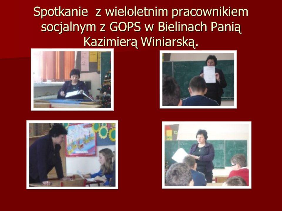 Spotkanie z wieloletnim pracownikiem socjalnym z GOPS w Bielinach Panią Kazimierą Winiarską.