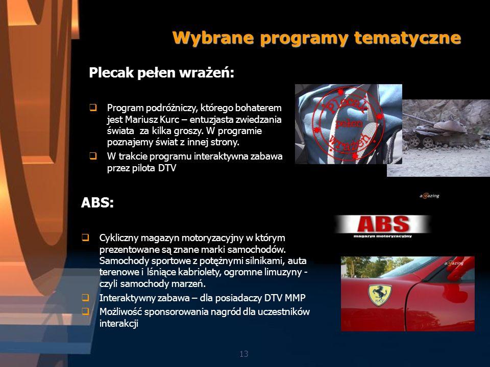 13 Wybrane programy tematyczne ABS: Cykliczny magazyn motoryzacyjny w którym prezentowane są znane marki samochodów.