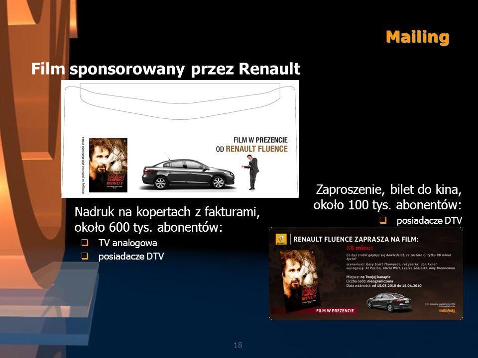 Mailing 18 Film sponsorowany przez Renault Nadruk na kopertach z fakturami, około 600 tys.