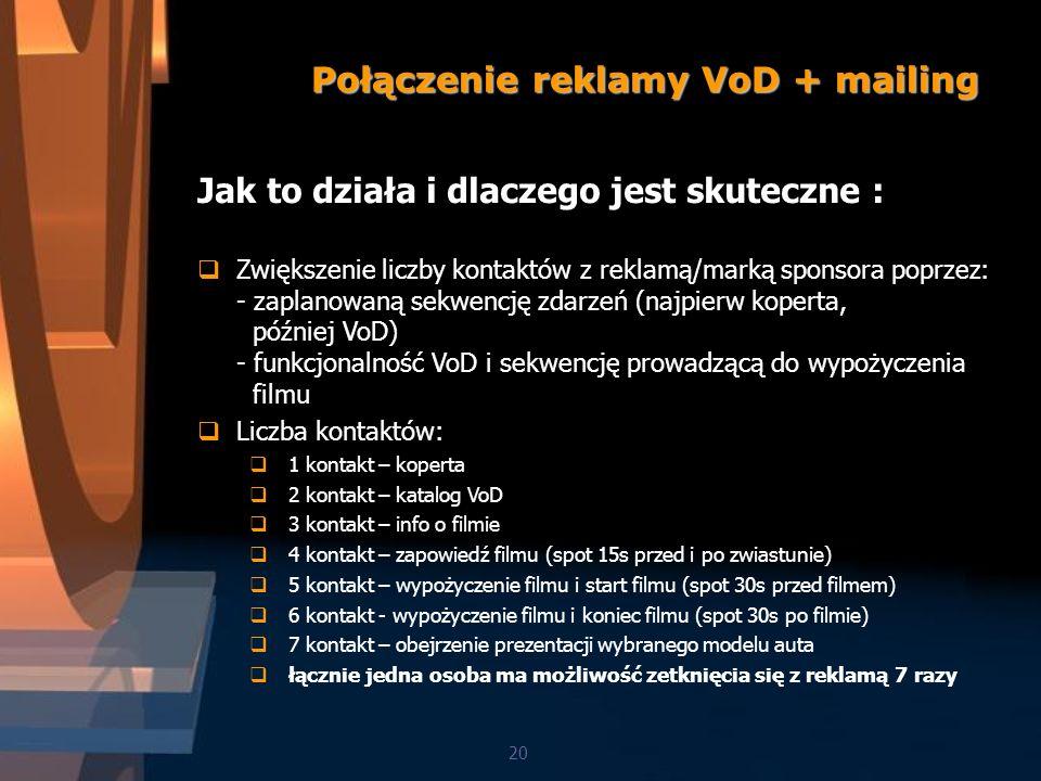 Połączenie reklamy VoD + mailing 20 Jak to działa i dlaczego jest skuteczne : Zwiększenie liczby kontaktów z reklamą/marką sponsora poprzez: - zaplanowaną sekwencję zdarzeń (najpierw koperta, później VoD) - funkcjonalność VoD i sekwencję prowadzącą do wypożyczenia filmu Liczba kontaktów: 1 kontakt – koperta 2 kontakt – katalog VoD 3 kontakt – info o filmie 4 kontakt – zapowiedź filmu (spot 15s przed i po zwiastunie) 5 kontakt – wypożyczenie filmu i start filmu (spot 30s przed filmem) 6 kontakt - wypożyczenie filmu i koniec filmu (spot 30s po filmie) 7 kontakt – obejrzenie prezentacji wybranego modelu auta łącznie jedna osoba ma możliwość zetknięcia się z reklamą 7 razy