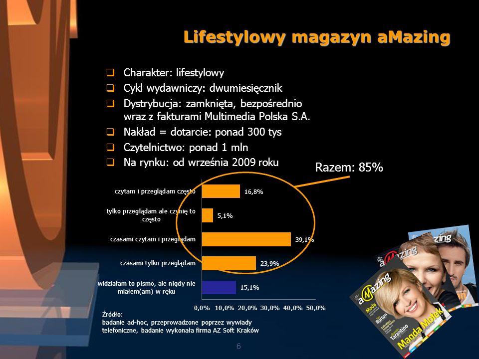 6 Lifestylowy magazyn aMazing Charakter: lifestylowy Cykl wydawniczy: dwumiesięcznik Dystrybucja: zamknięta, bezpośrednio wraz z fakturami Multimedia Polska S.A.