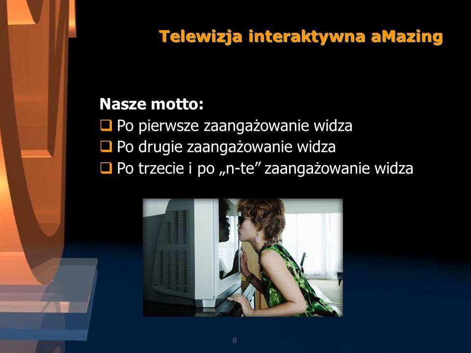 8 Telewizja interaktywna aMazing Nasze motto: Po pierwsze zaangażowanie widza Po drugie zaangażowanie widza Po trzecie i po n-te zaangażowanie widza