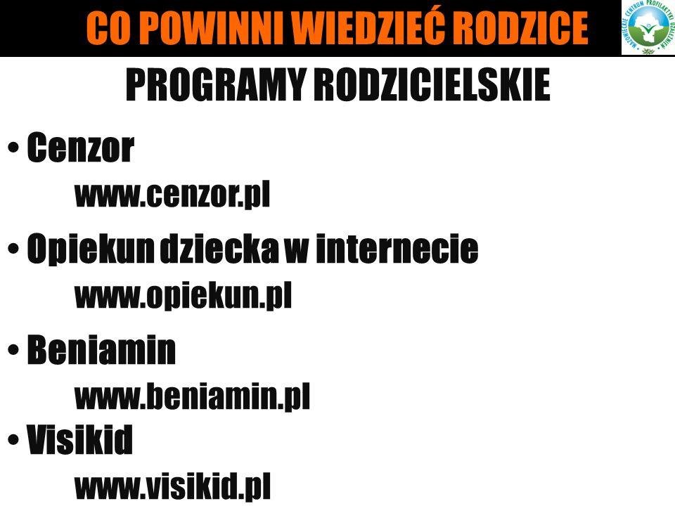 PROGRAMY RODZICIELSKIE Cenzor www.cenzor.pl Opiekun dziecka w internecie www.opiekun.pl Beniamin www.beniamin.pl Visikid www.visikid.pl CO POWINNI WIE