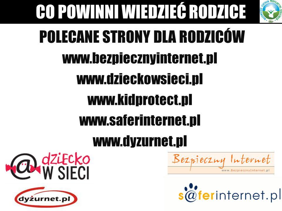 POLECANE STRONY DLA RODZICÓW www.bezpiecznyinternet.pl www.dzieckowsieci.pl www.kidprotect.pl www.saferinternet.pl www.dyzurnet.pl CO POWINNI WIEDZIEĆ