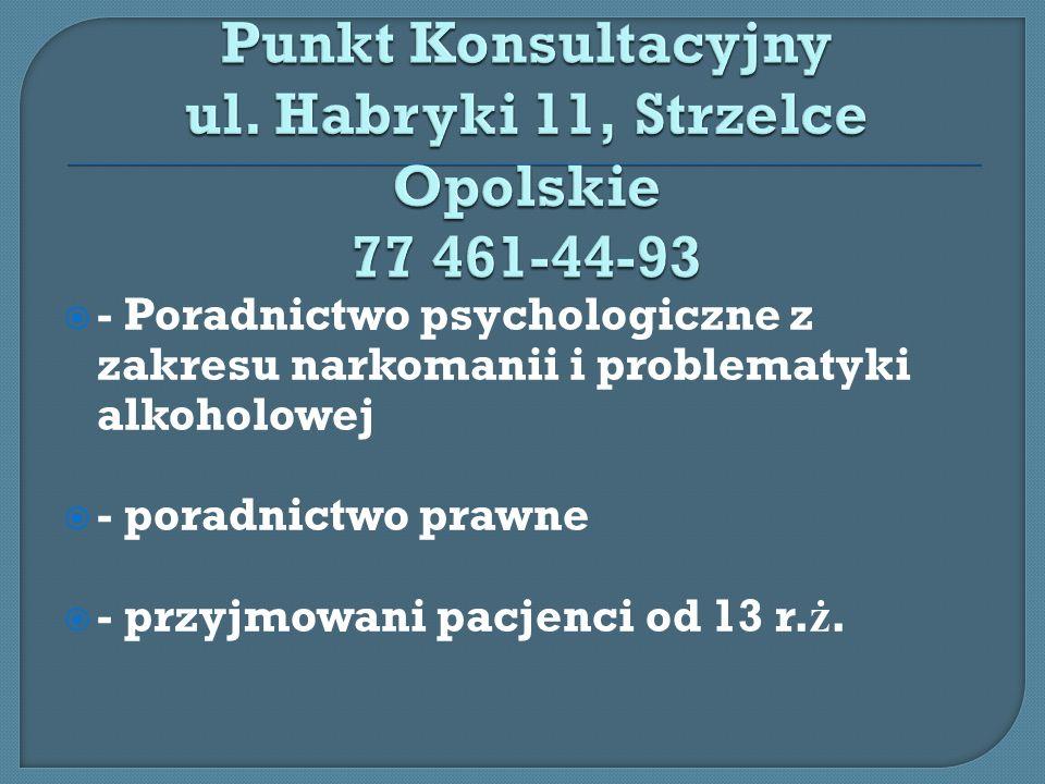 Strzelecki Klub Abstynenta ul.Krakowska 18 od poniedzia ł ku do pi ą tku w godz.