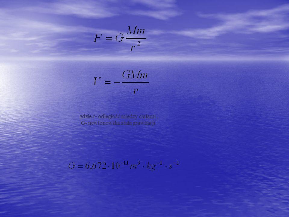 gdzie r- odległość między ciałami, G- newtonowska stała grawitacji