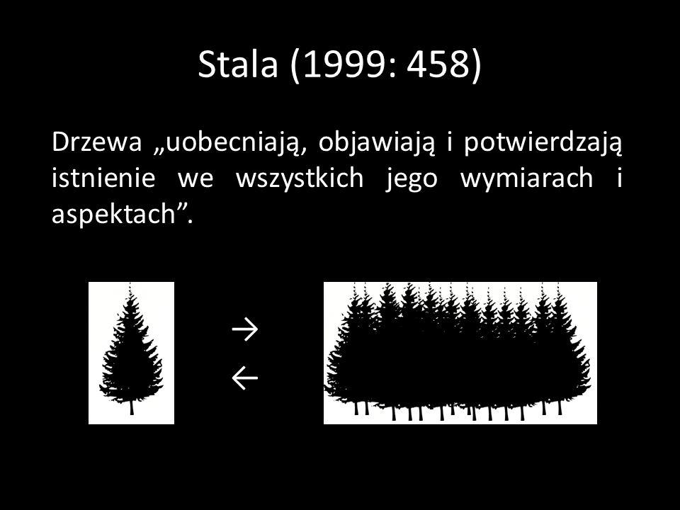 Stala (1999: 458) Drzewa uobecniają, objawiają i potwierdzają istnienie we wszystkich jego wymiarach i aspektach.