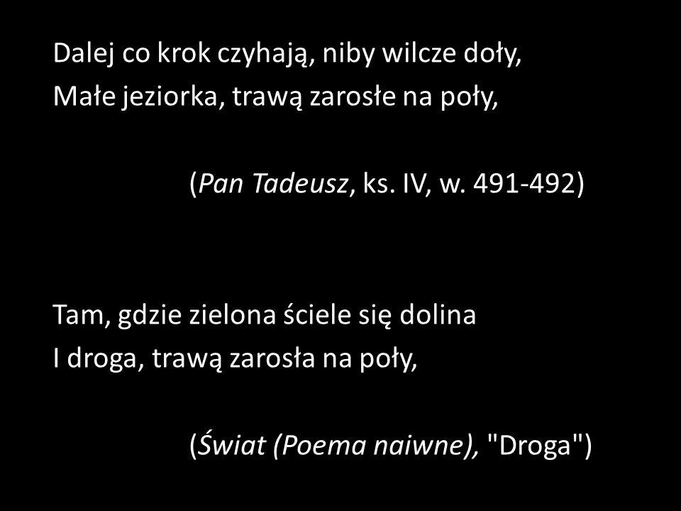 Dalej co krok czyhają, niby wilcze doły, Małe jeziorka, trawą zarosłe na poły, (Pan Tadeusz, ks.