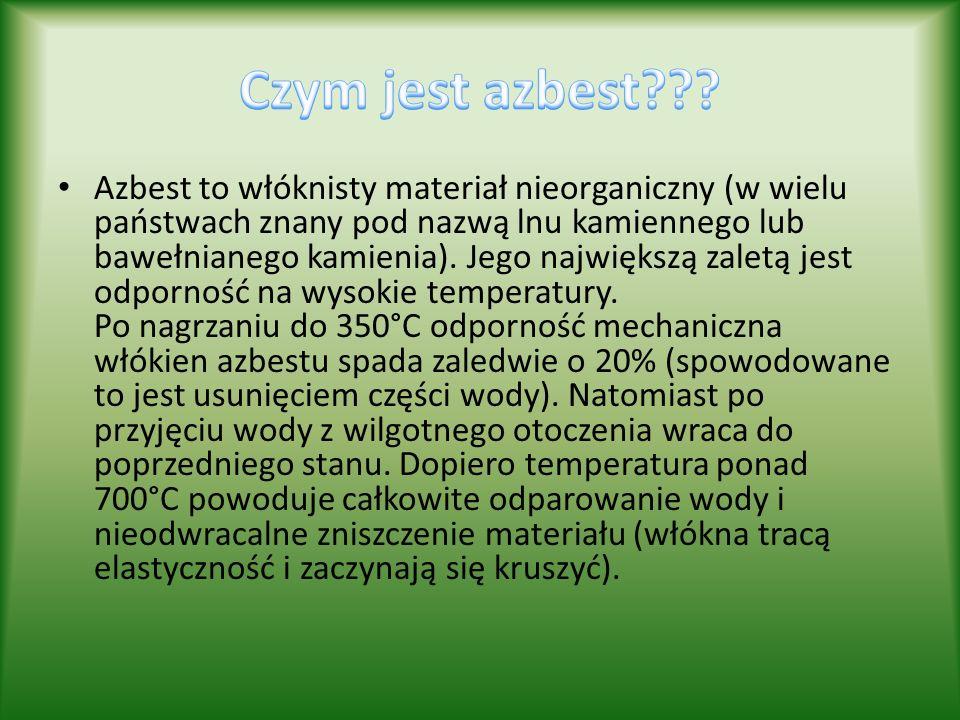 Azbest to włóknisty materiał nieorganiczny (w wielu państwach znany pod nazwą lnu kamiennego lub bawełnianego kamienia). Jego największą zaletą jest o