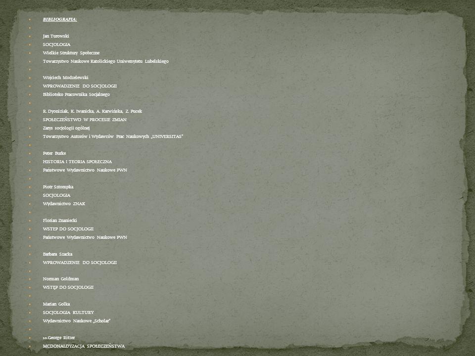 BIBLIOGRAFIA: Jan Turowski SOCJOLOGIA Wielkie Struktury Społeczne Towarzystwo Naukowe Katolickiego Uniwersytetu Lubelskiego Wojciech Modzelewski WPROW