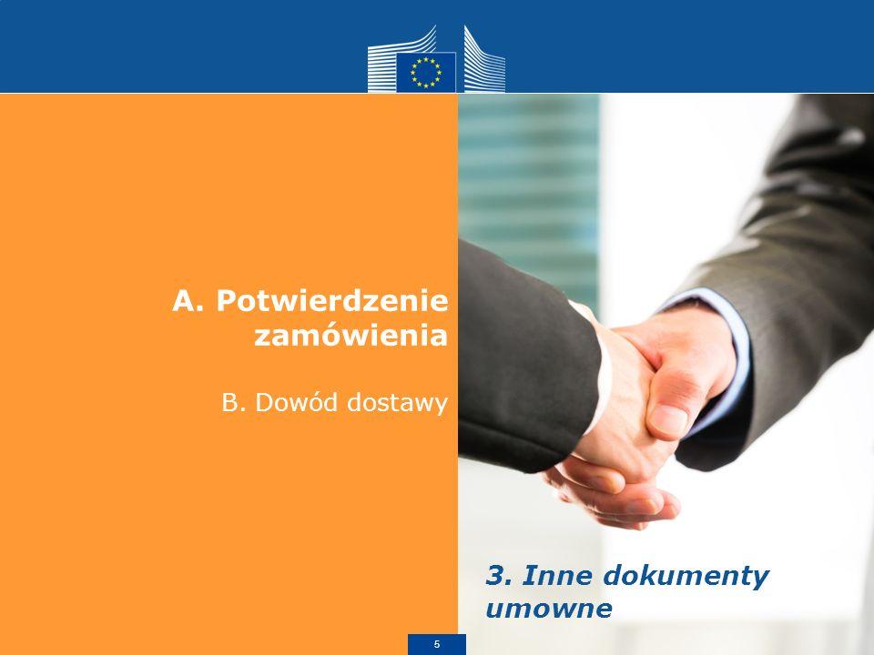A.Potwierdzenie zamówienia Zwykle nie jest to obowiązkowa, lecz pomocna Dyrektywa w sprawie umów zawieranych na odległość - konsument musi otrzymać potwierdzenie w formie pisemnej tożsamość dostawcy; główne właściwości towarów lub usług; cena ze wszystkimi podatkami; koszty przesyłki; uzgodnienia dotyczące sposobu płatności, dostawy lub wykonania; istnienie prawa odstawienia + warunki; okres, w którym oferta / cena pozostają wiążące; miejsce prowadzenia działalności dostawcy (na potrzeby reklamacji); informacje na temat usług posprzedażowych / gwarancji; wniosek o anulowanie, jeżeli czas umowy jest nieokreślony lub przekracza 1 rok.