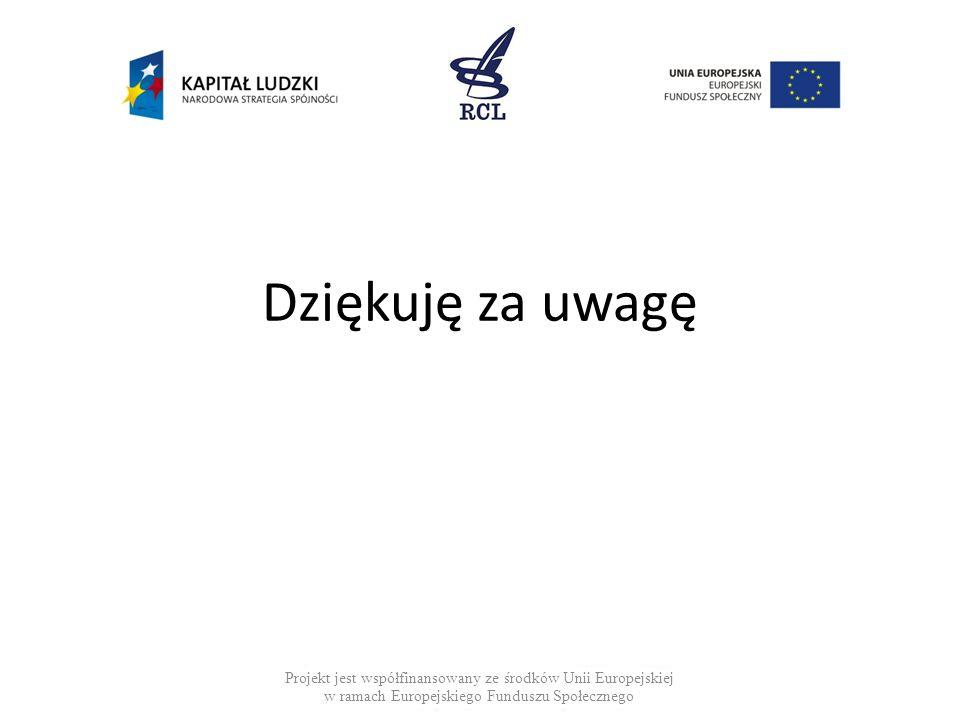 Dziękuję za uwagę Projekt jest współfinansowany ze środków Unii Europejskiej w ramach Europejskiego Funduszu Społecznego