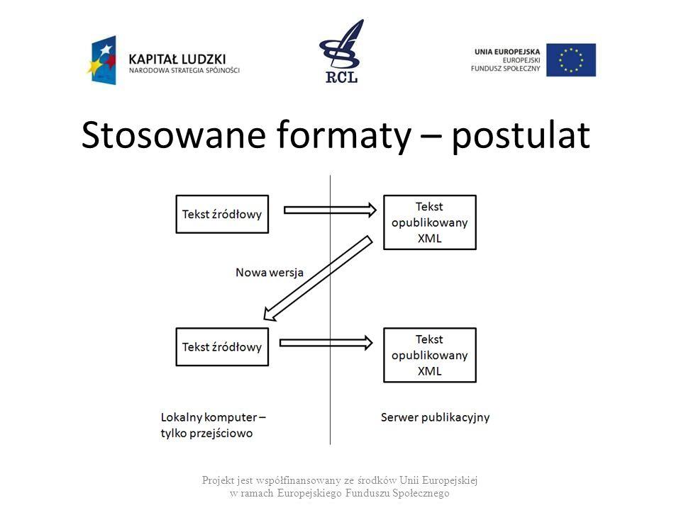 Stosowane formaty – postulat Projekt jest współfinansowany ze środków Unii Europejskiej w ramach Europejskiego Funduszu Społecznego