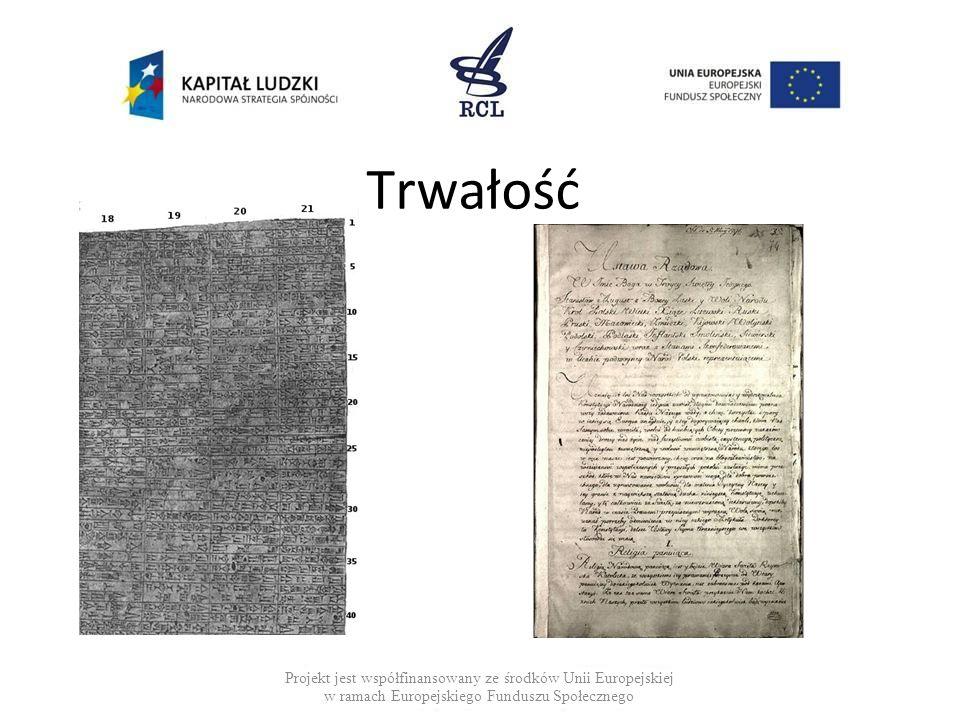 Trwałość Projekt jest współfinansowany ze środków Unii Europejskiej w ramach Europejskiego Funduszu Społecznego