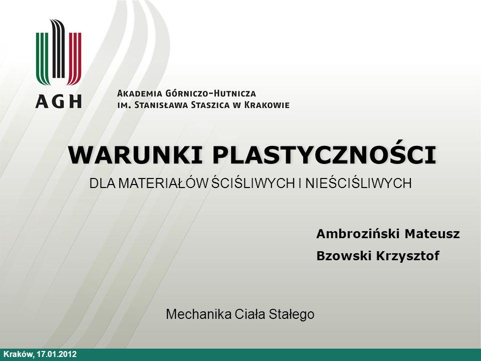 Energetyczny warunek plastyczności Do jednoznacznego określenia przejścia materiału ściśliwego w stan plastyczny konieczne jest doświadczalne wyznaczenie dwóch cech materiałowych: Liczbę Poissona Naprężenia uplastyczniającego [2]