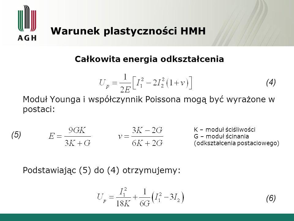 Warunek plastyczności HMH Całkowita energia odkształcenia Moduł Younga i współczynnik Poissona mogą być wyrażone w postaci: Podstawiając (5) do (4) ot