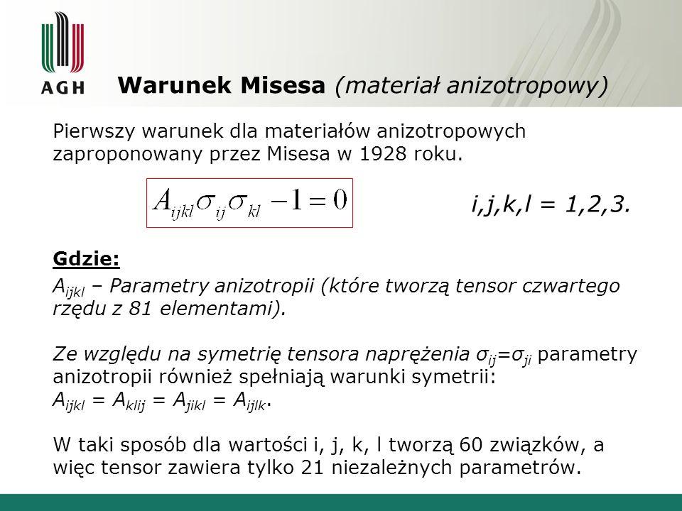 Warunek Misesa (materiał anizotropowy) Pierwszy warunek dla materiałów anizotropowych zaproponowany przez Misesa w 1928 roku. Gdzie: A ijkl – Parametr