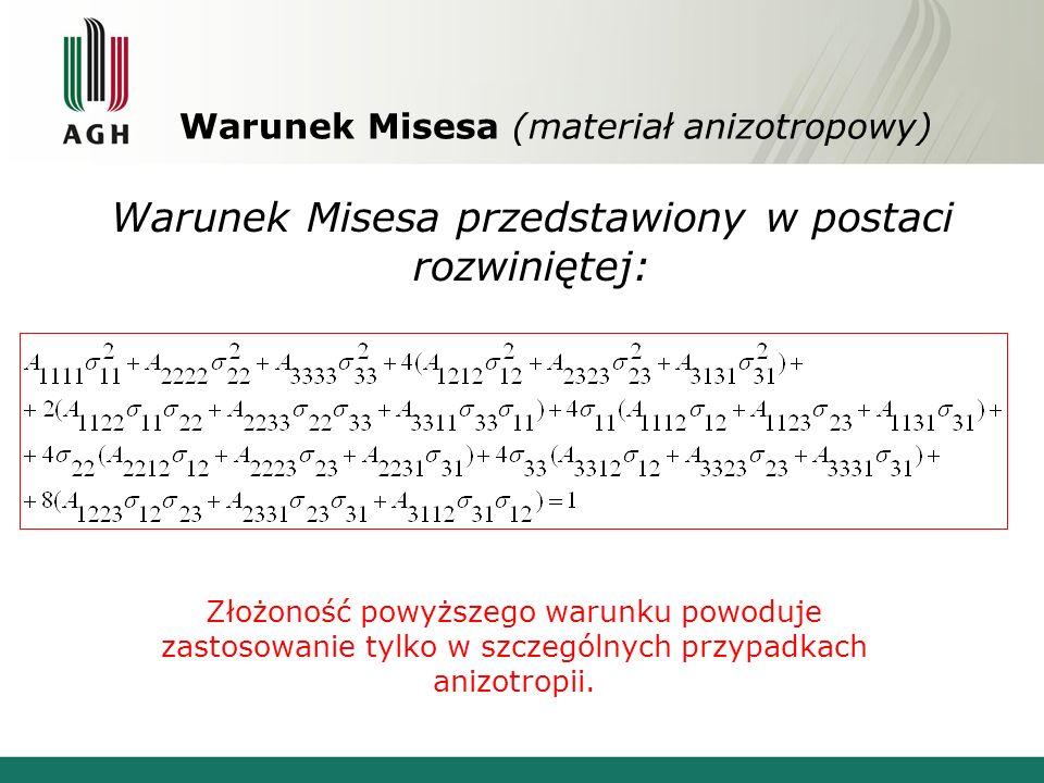 Warunek Misesa (materiał anizotropowy) Złożoność powyższego warunku powoduje zastosowanie tylko w szczególnych przypadkach anizotropii. Warunek Misesa