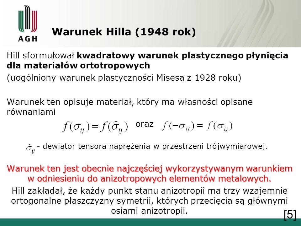Warunek Hilla (1948 rok) Hill sformułował kwadratowy warunek plastycznego płynięcia dla materiałów ortotropowych (uogólniony warunek plastyczności Mis