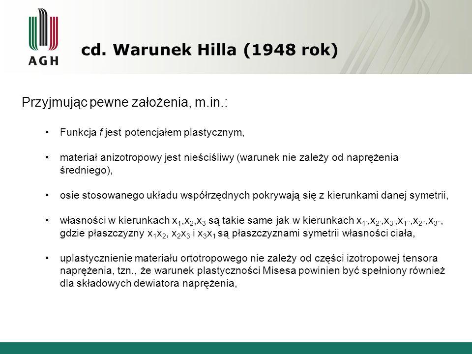 cd. Warunek Hilla (1948 rok) Przyjmując pewne założenia, m.in.: Funkcja f jest potencjałem plastycznym, materiał anizotropowy jest nieściśliwy (warune