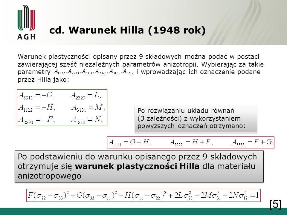cd. Warunek Hilla (1948 rok) Warunek plastyczności opisany przez 9 składowych można podać w postaci zawierającej sześć niezależnych parametrów anizotr