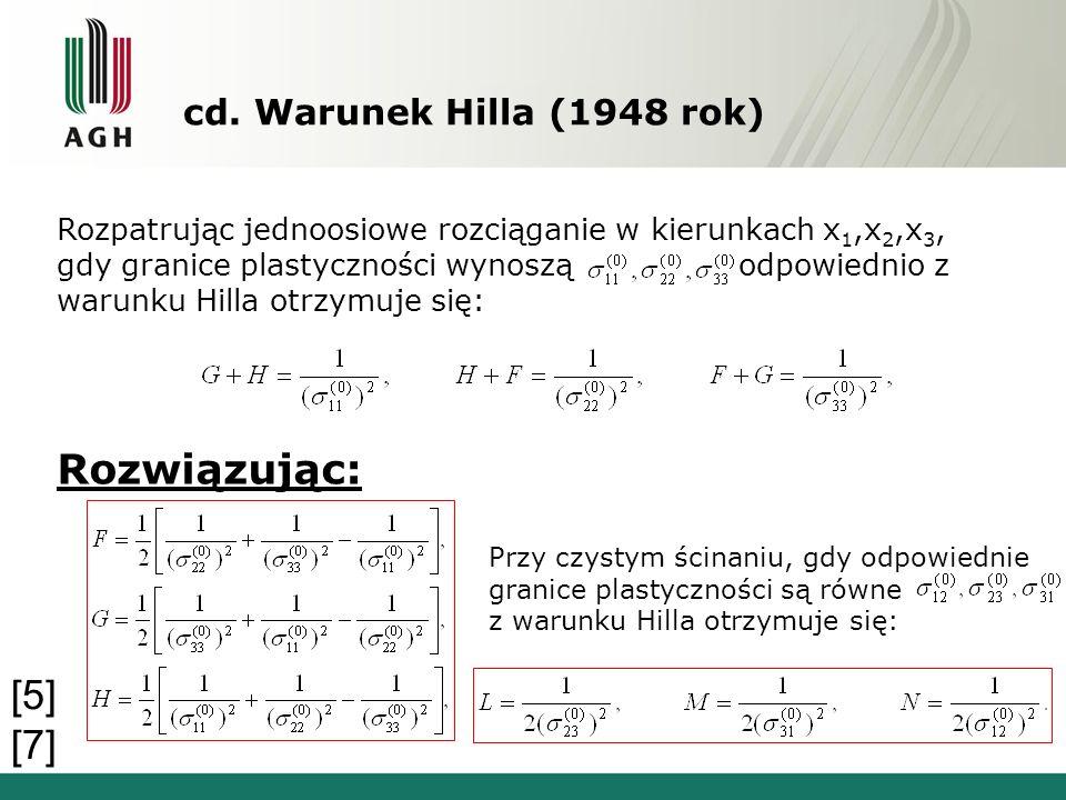cd. Warunek Hilla (1948 rok) Rozpatrując jednoosiowe rozciąganie w kierunkach x 1,x 2,x 3, gdy granice plastyczności wynoszą odpowiednio z warunku Hil
