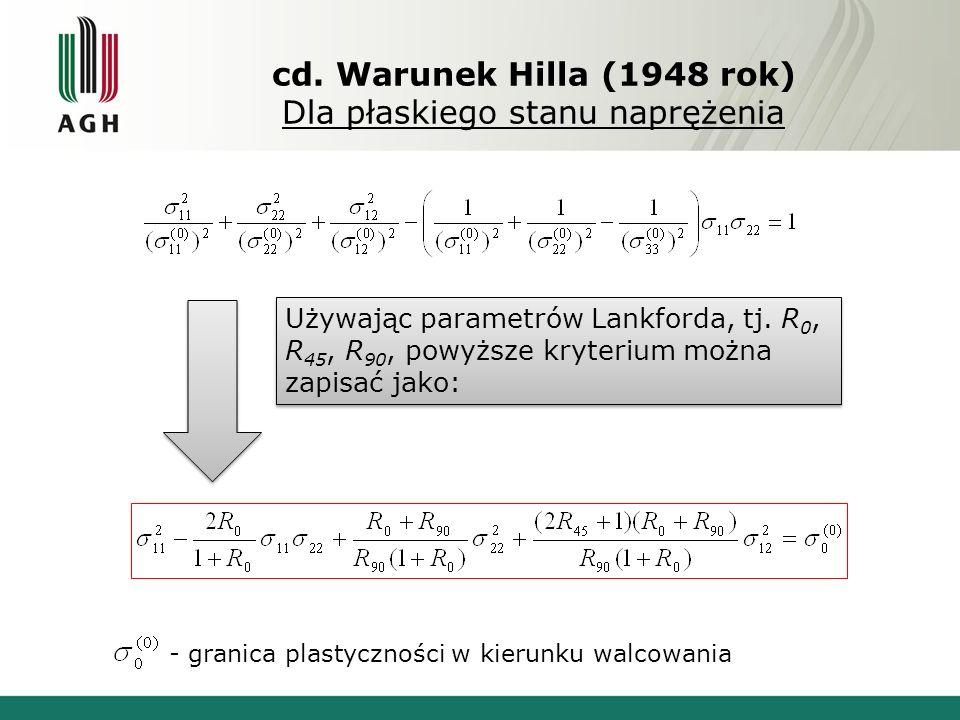cd. Warunek Hilla (1948 rok) Dla płaskiego stanu naprężenia Używając parametrów Lankforda, tj. R 0, R 45, R 90, powyższe kryterium można zapisać jako: