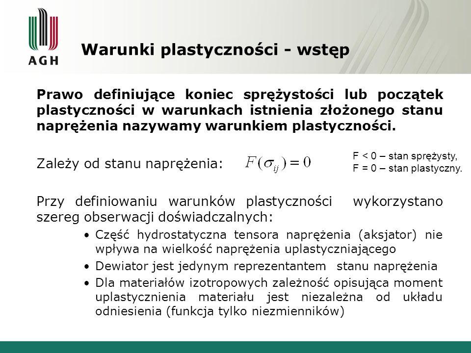 Warunki plastyczności – wstęp Są próbą opisu zachowania materiałów bez wnikania w fizykalny opis zjawisk zachodzący w czasie obciążenia.