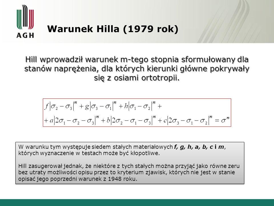 Warunek Hilla (1979 rok) Hill wprowadził warunek m-tego stopnia sformułowany dla stanów naprężenia, dla których kierunki główne pokrywały się z osiami