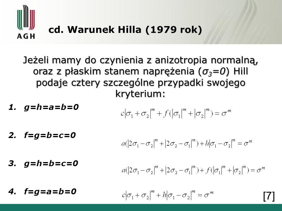 cd. Warunek Hilla (1979 rok) Jeżeli mamy do czynienia z anizotropia normalną, oraz z płaskim stanem naprężenia (σ 3 =0) Hill podaje cztery szczególne