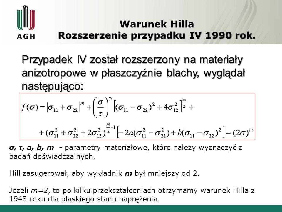 Rozszerzenie przypadku IV 1990 rok. Warunek Hilla Rozszerzenie przypadku IV 1990 rok. Przypadek IV został rozszerzony na materiały anizotropowe w płas