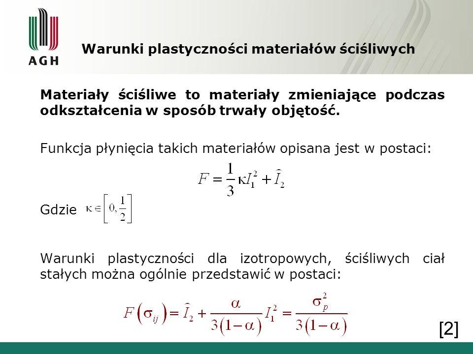 Warunki plastyczności materiałów ściśliwych Materiały ściśliwe to materiały zmieniające podczas odkształcenia w sposób trwały objętość. Funkcja płynię
