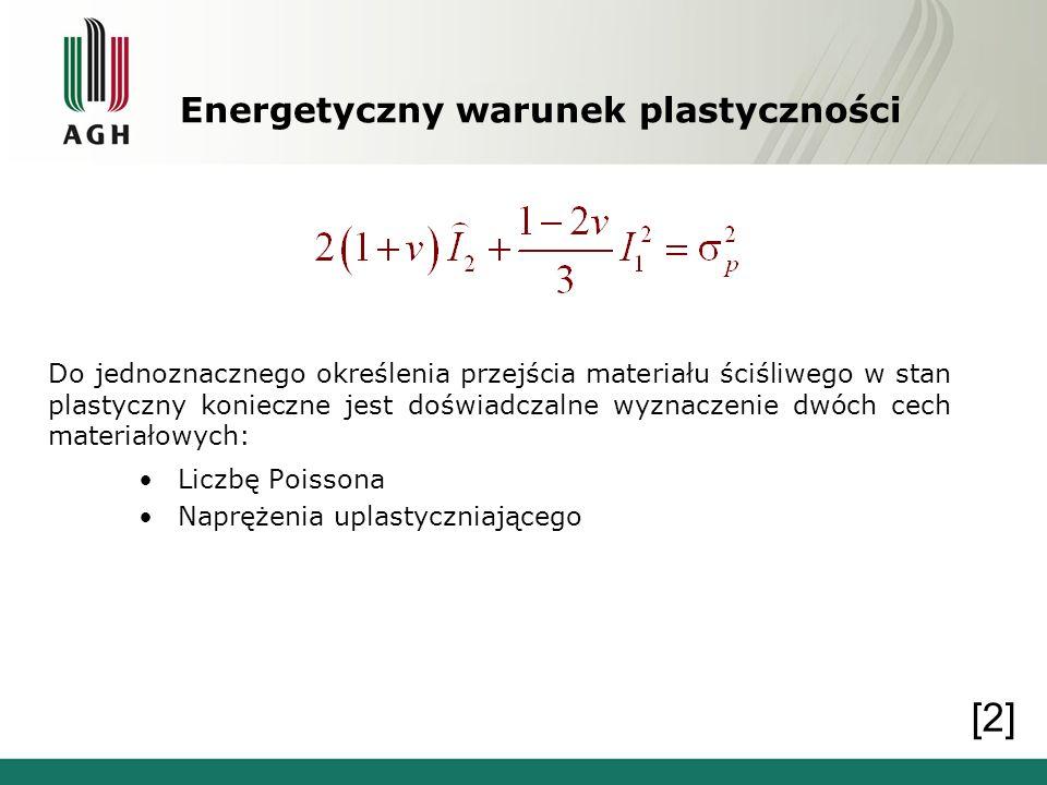 Energetyczny warunek plastyczności Do jednoznacznego określenia przejścia materiału ściśliwego w stan plastyczny konieczne jest doświadczalne wyznacze
