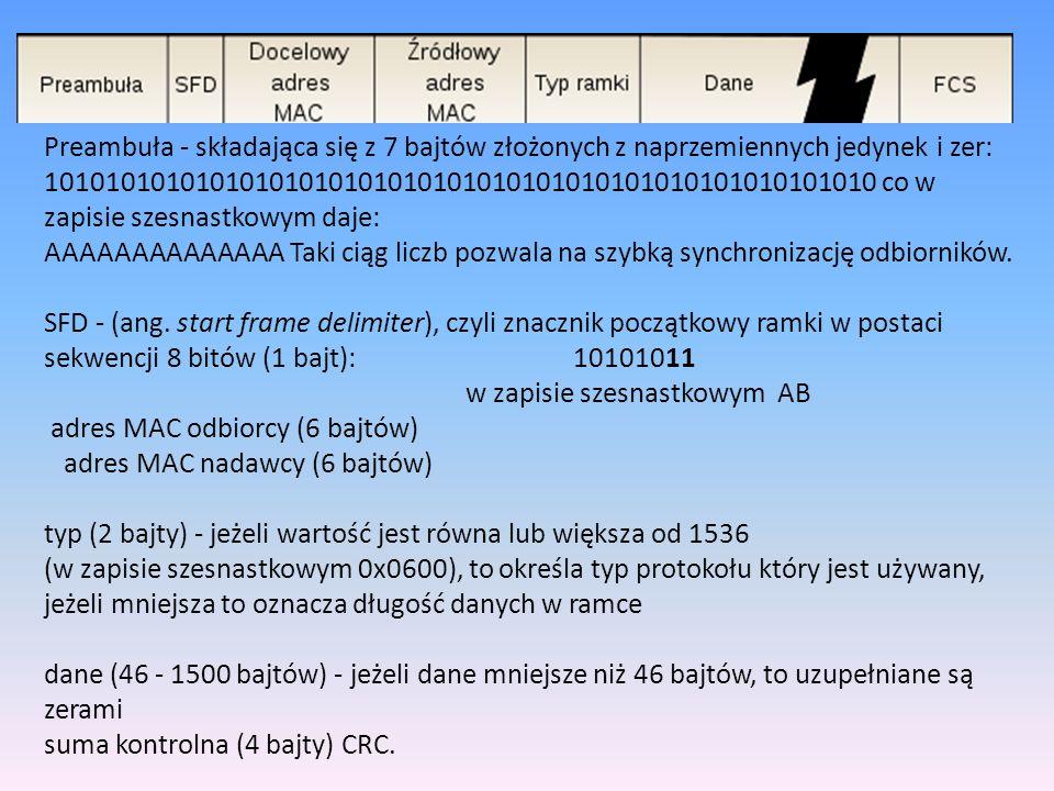 Preambuła - składająca się z 7 bajtów złożonych z naprzemiennych jedynek i zer: 10101010101010101010101010101010101010101010101010101010 co w zapisie szesnastkowym daje: AAAAAAAAAAAAAA Taki ciąg liczb pozwala na szybką synchronizację odbiorników.