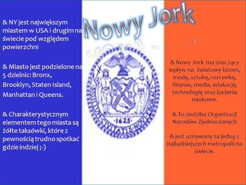 & NY jest największym miastem w USA i drugim na świecie pod względem powierzchni & Miasto jest podzielone na 5 5 dzielnic: Bronx, Brooklyn, Staten Island, Manhattan i Queens.