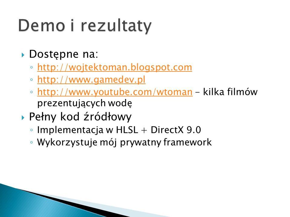 Dostępne na: http://wojtektoman.blogspot.com http://www.gamedev.pl http://www.youtube.com/wtoman - kilka filmów prezentujących wodę http://www.youtube