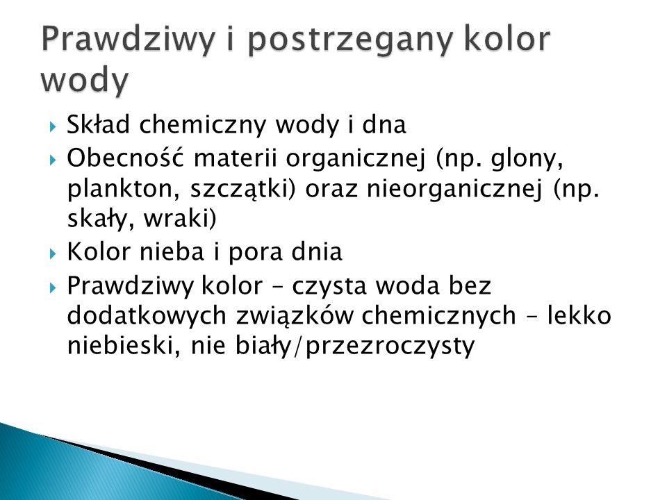 Skład chemiczny wody i dna Obecność materii organicznej (np. glony, plankton, szczątki) oraz nieorganicznej (np. skały, wraki) Kolor nieba i pora dnia