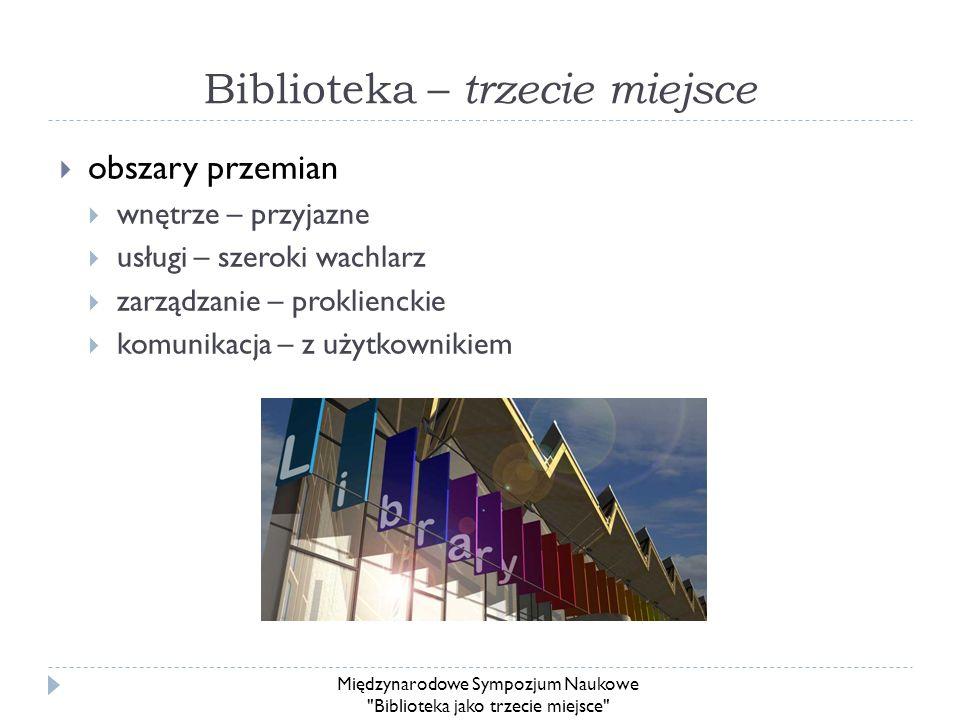 Biblioteka – trzecie miejsce obszary przemian wnętrze – przyjazne usługi – szeroki wachlarz zarządzanie – proklienckie komunikacja – z użytkownikiem M