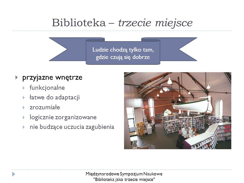 Biblioteka – trzecie miejsce przyjazne wnętrze funkcjonalne łatwe do adaptacji zrozumiałe logicznie zorganizowane nie budzące uczucia zagubienia Ludzi