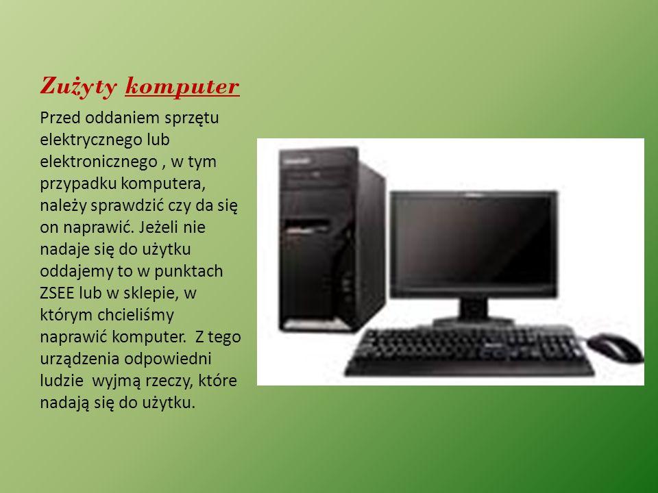 Zu ż yty komputer Przed oddaniem sprzętu elektrycznego lub elektronicznego, w tym przypadku komputera, należy sprawdzić czy da się on naprawić. Jeżeli