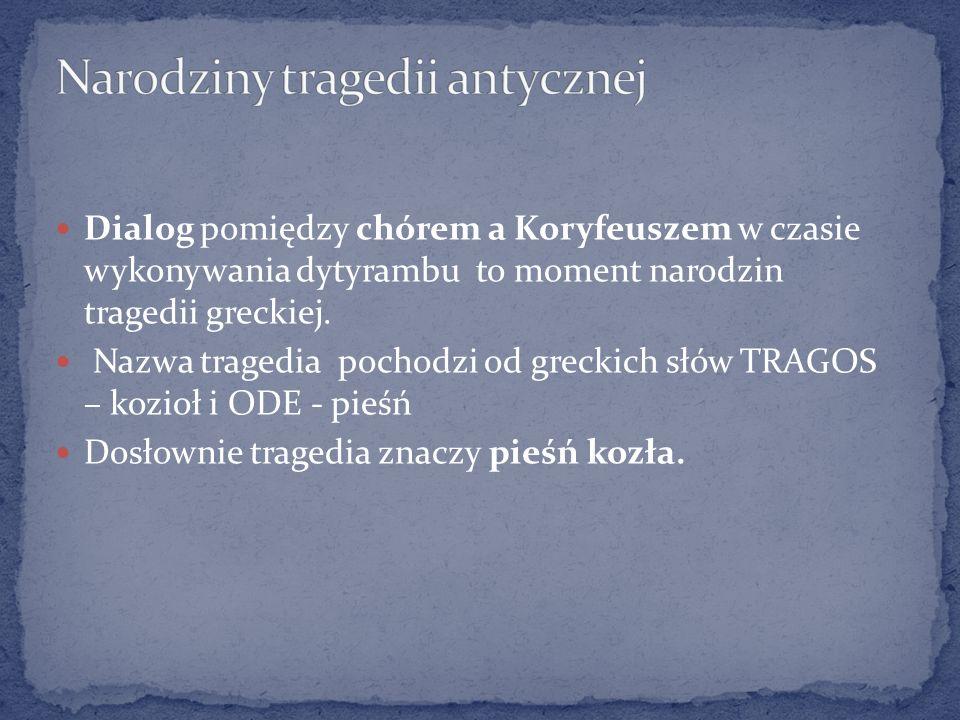 Dialog pomiędzy chórem a Koryfeuszem w czasie wykonywania dytyrambu to moment narodzin tragedii greckiej. Nazwa tragedia pochodzi od greckich słów TRA