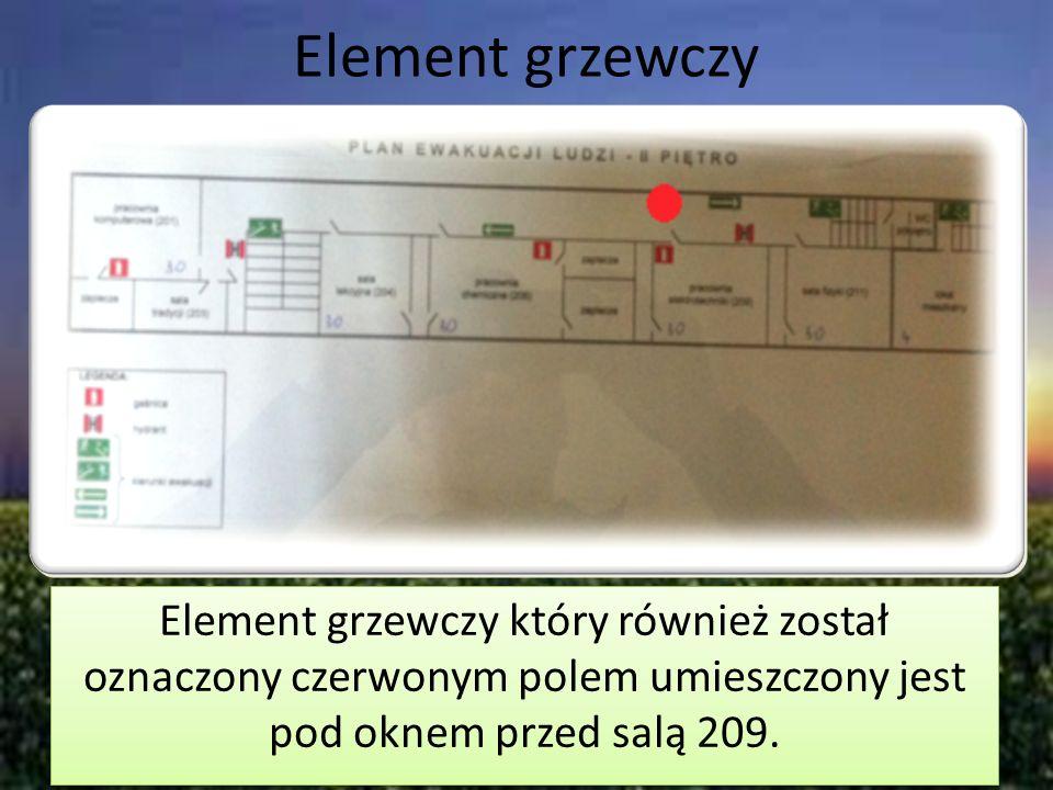 Element grzewczy Element grzewczy który również został oznaczony czerwonym polem umieszczony jest pod oknem przed salą 209.