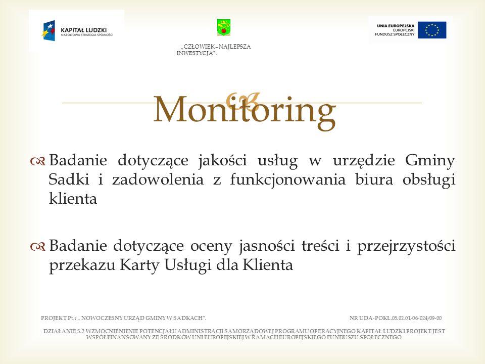 Badanie dotyczące jakości usług w urzędzie Gminy Sadki i zadowolenia z funkcjonowania biura obsługi klienta Badanie dotyczące oceny jasności treści i przejrzystości przekazu Karty Usługi dla Klienta Monitoring PROJEKT Pt.: NOWOCZESNY URZĄD GMINY W SADKACH.